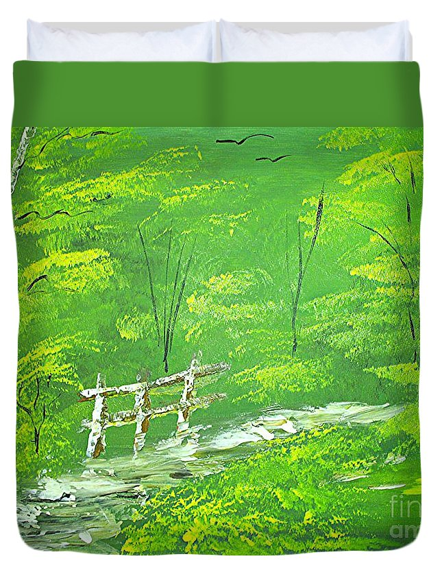 Landscape Painting Duvet Cover featuring the painting Green Meadows by Collin A Clarke