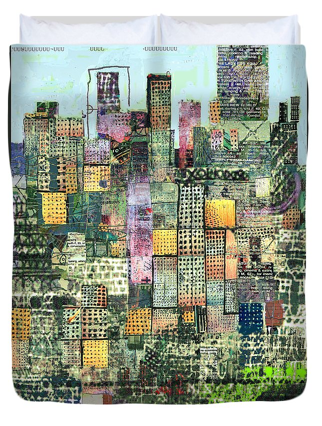 Urban Art Duvet Cover featuring the digital art Green Metropolis by Andy Mercer