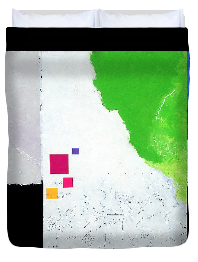 Abstract Duvet Cover featuring the painting Green Movement by Jean Pierre Rousselet