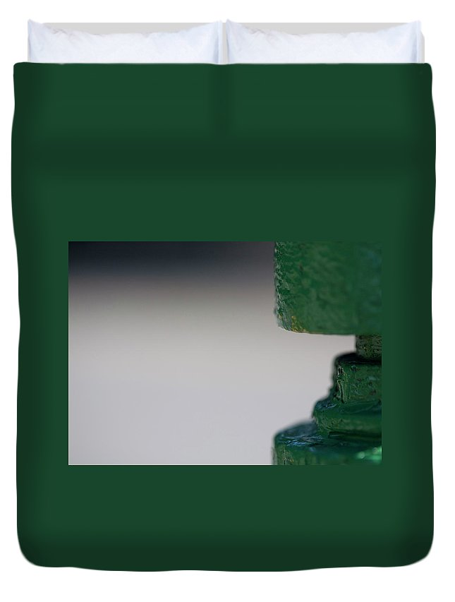 Hydrant Duvet Cover featuring the photograph Green Neck by Walter Murdock