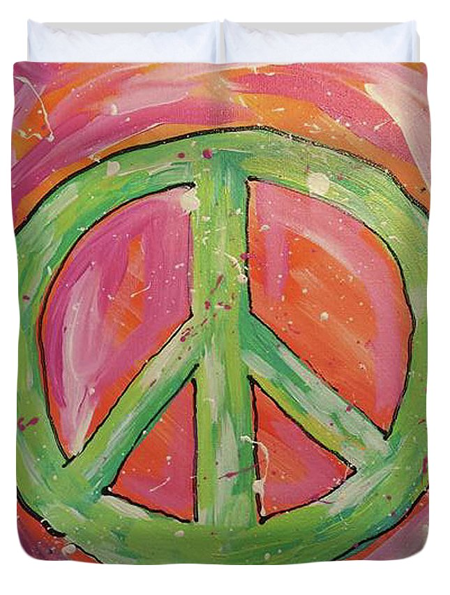 Green Peace Sign Duvet Cover featuring the painting Green Peace by Susan Peterson