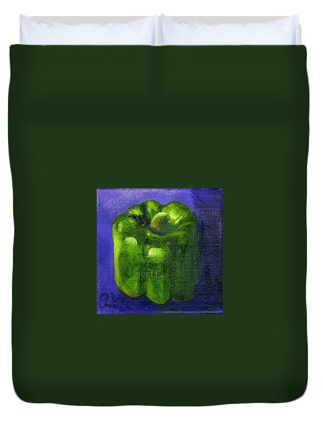 Pepper Duvet Cover featuring the painting Green Pepper On Linen by Gloria Condon