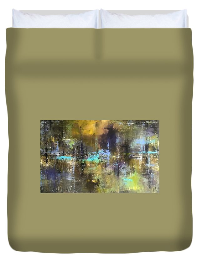 Abstract Acrylic Painting John Cammarano Green Blue Purple Duvet Cover featuring the painting Green Pond by John Cammarano