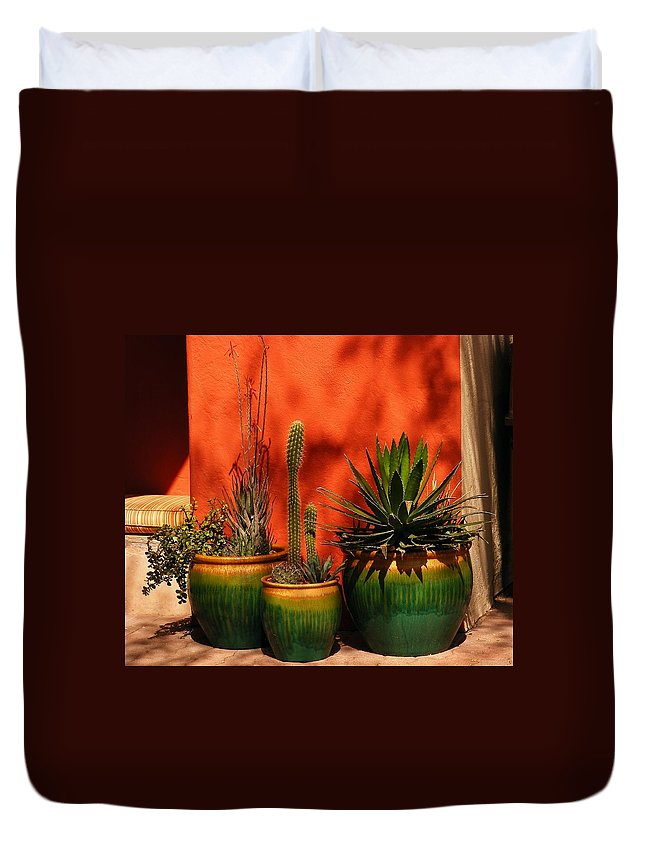 Flowers Duvet Cover featuring the photograph Green Pots by Marilyn Smith