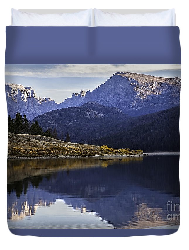 Fly-fisherman Duvet Cover featuring the photograph Green River Lake Fly-fisherman by Daryl L Hunter