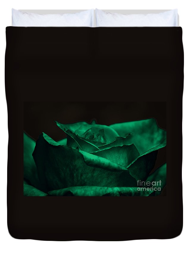 Clay Duvet Cover featuring the photograph Green Rose by Clayton Bruster