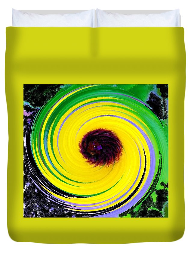 Abstract Duvet Cover featuring the digital art Green Rush by Ian MacDonald