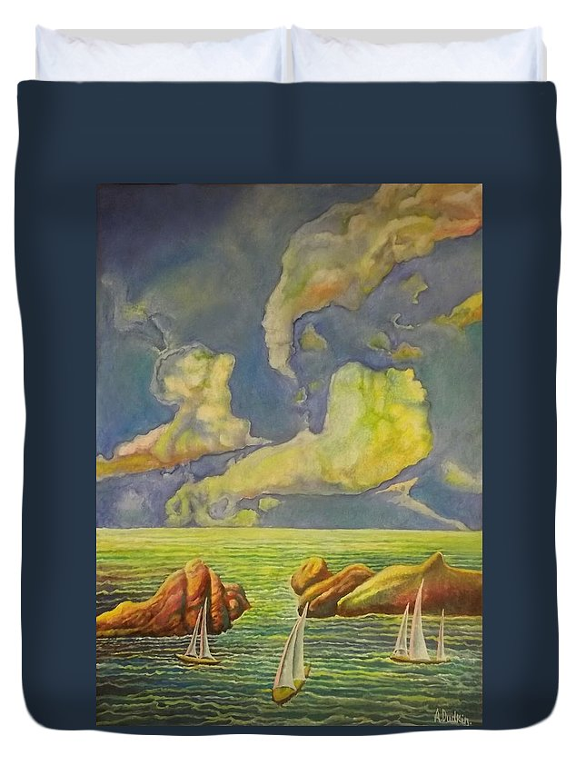 Strange Clouds Duvet Cover featuring the painting Green Sea by Alexander Dudchin