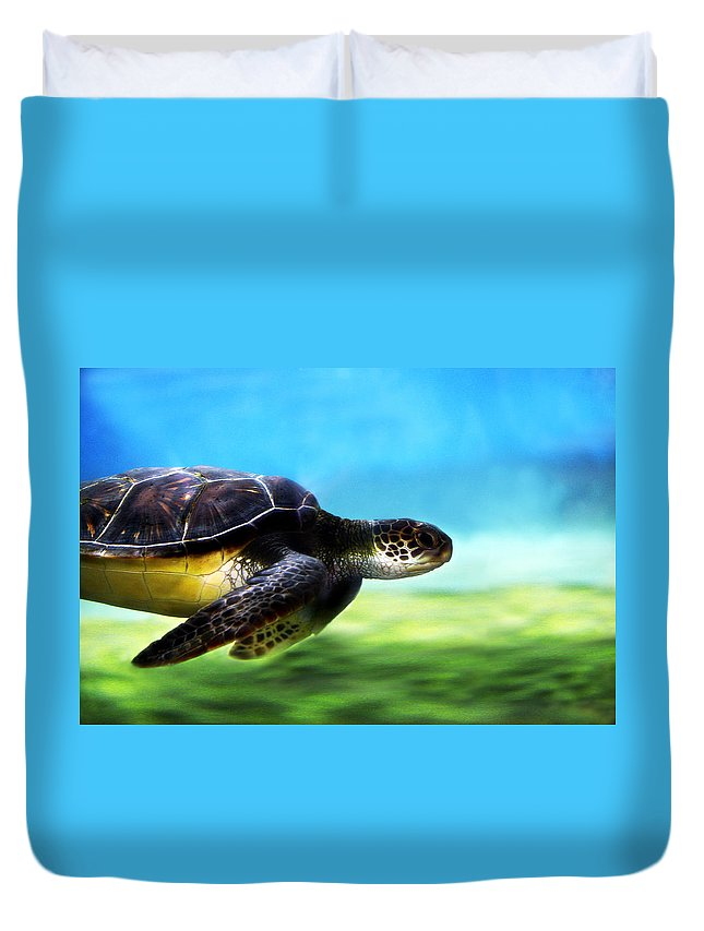 Green Duvet Cover featuring the photograph Green Sea Turtle 2 by Marilyn Hunt