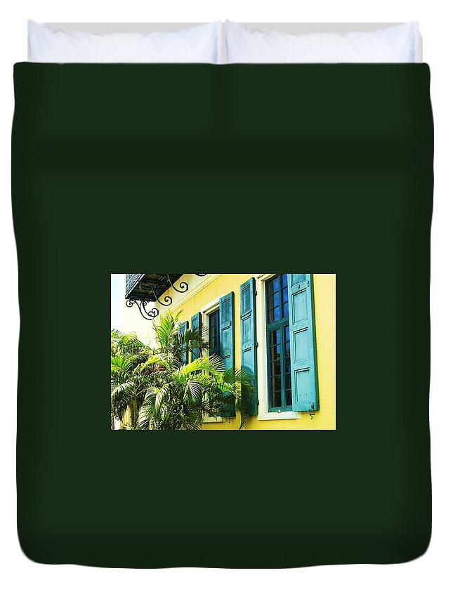 Architecture Duvet Cover featuring the photograph Green Shutters by Debbi Granruth