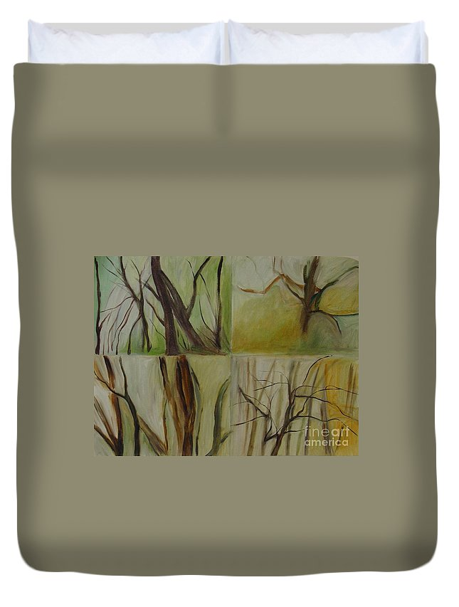 Spring Young Trees Saplings Trees Duvet Cover featuring the painting Green Sonnet by Leila Atkinson