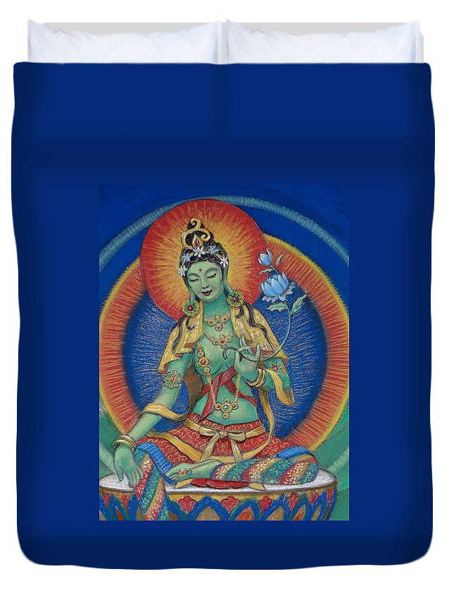 Green Tara Duvet Cover featuring the painting Green Tara by Sue Halstenberg