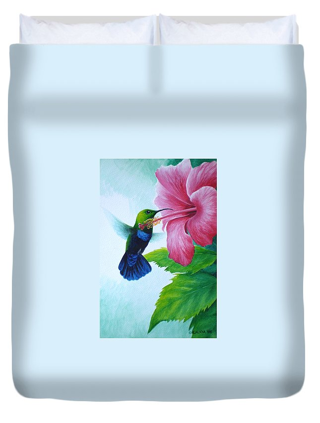 Green-throated Carib Hummingbird Duvet Cover featuring the painting Green-throated Carib And Pink Hibiscus by Christopher Cox