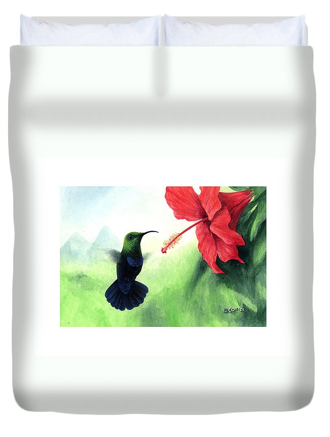 Chris Cox Duvet Cover featuring the painting Green-throated Carib Hummingbird And Red Hibiscus by Christopher Cox