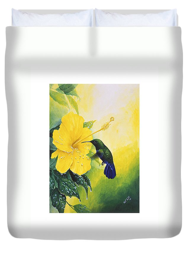 Chris Cox Duvet Cover featuring the painting Green-throated Carib Hummingbird and yellow hibiscus by Christopher Cox