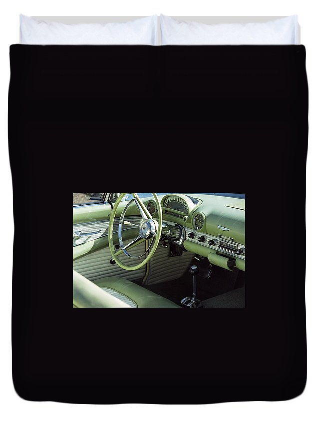 Photography Duvet Cover featuring the photograph Green Thunderbird Wheel And Front Seat by Heather Kirk