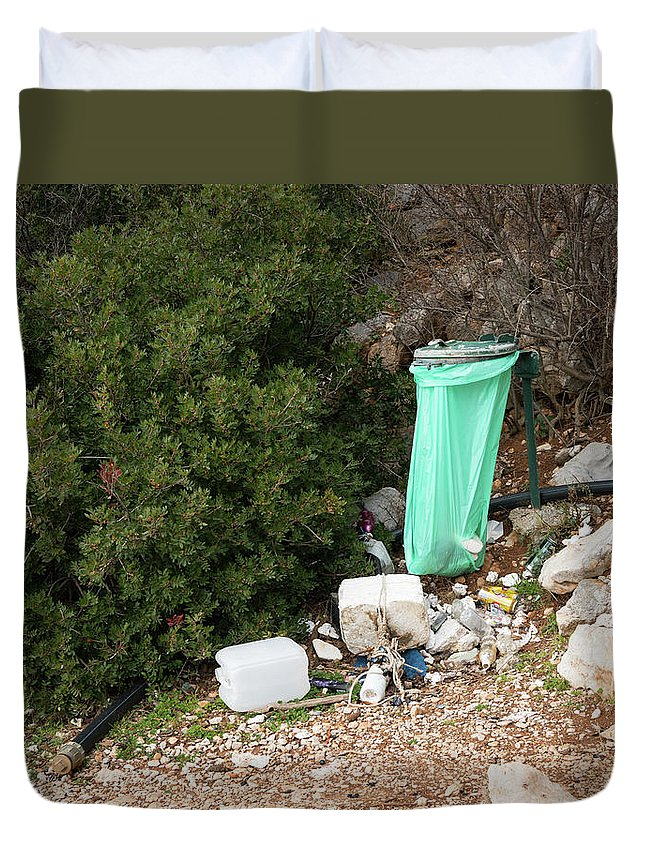 Refuse Duvet Cover featuring the photograph Green Trash Bag And Rubbish In Croatia by Stefan Rotter