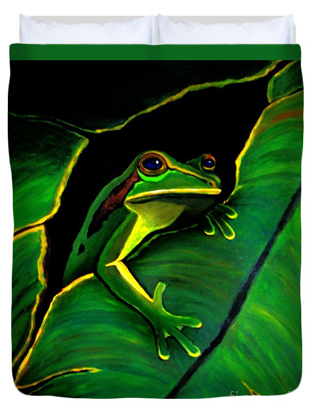 Frog Duvet Cover featuring the painting Green Tree Frog And Leaf by Nick Gustafson