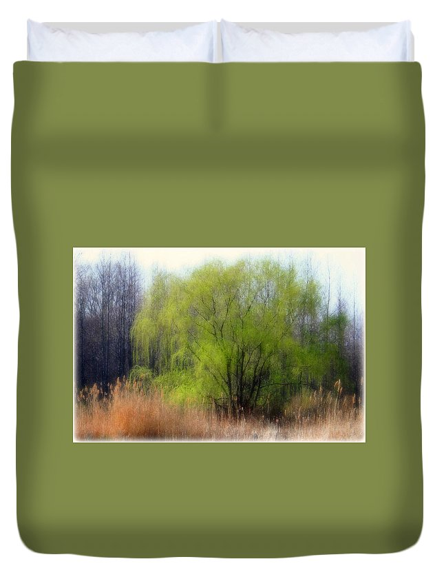 Scenic Art Duvet Cover featuring the photograph Green Tree by Linda Sannuti