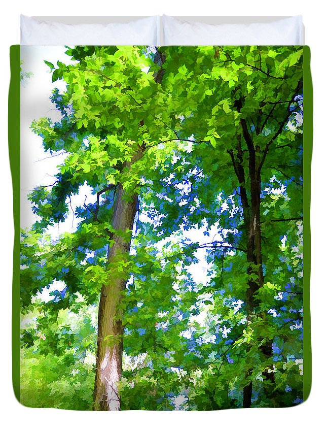 Green Trees Duvet Cover featuring the painting Green Trees 1 by Jeelan Clark