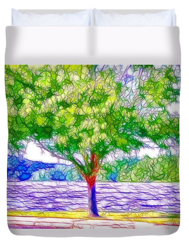 Lake Duvet Cover featuring the painting Green Trees By The Water 5 by Jeelan Clark