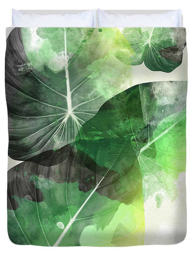 Summer Duvet Cover featuring the painting Green Tropical by Mark Ashkenazi