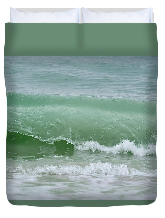 Wave Duvet Cover featuring the photograph Green Wave by Artful Imagery