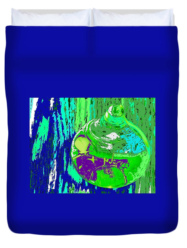 Abstract Duvet Cover featuring the photograph Green Whirl by Ian MacDonald