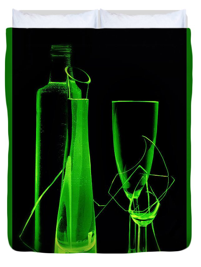Drinks Duvet Cover featuring the photograph Green Wine Glasses And A Bottle by  larisa Fedotova