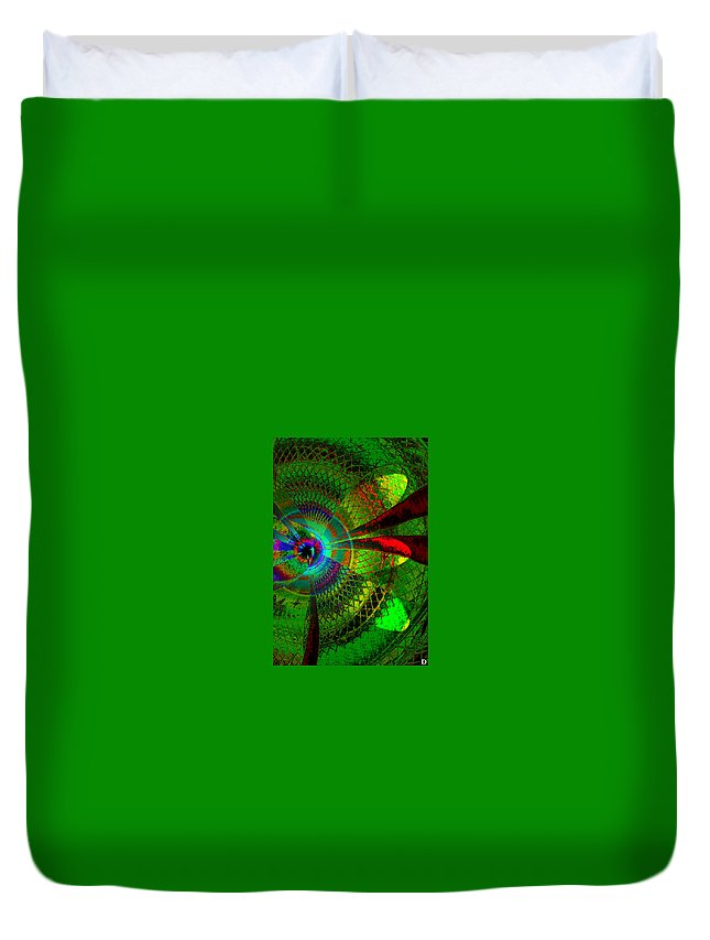 Green Worlds Duvet Cover featuring the painting Green Worlds by David Lee Thompson