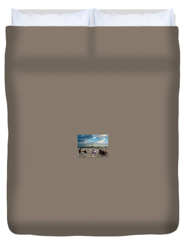 Horses Duvet Cover featuring the mixed media Greener Pastures by Bill Stephens