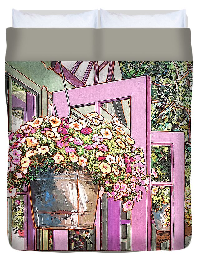 Carter Garden Duvet Cover featuring the painting Greenhouse Doors by Nadi Spencer