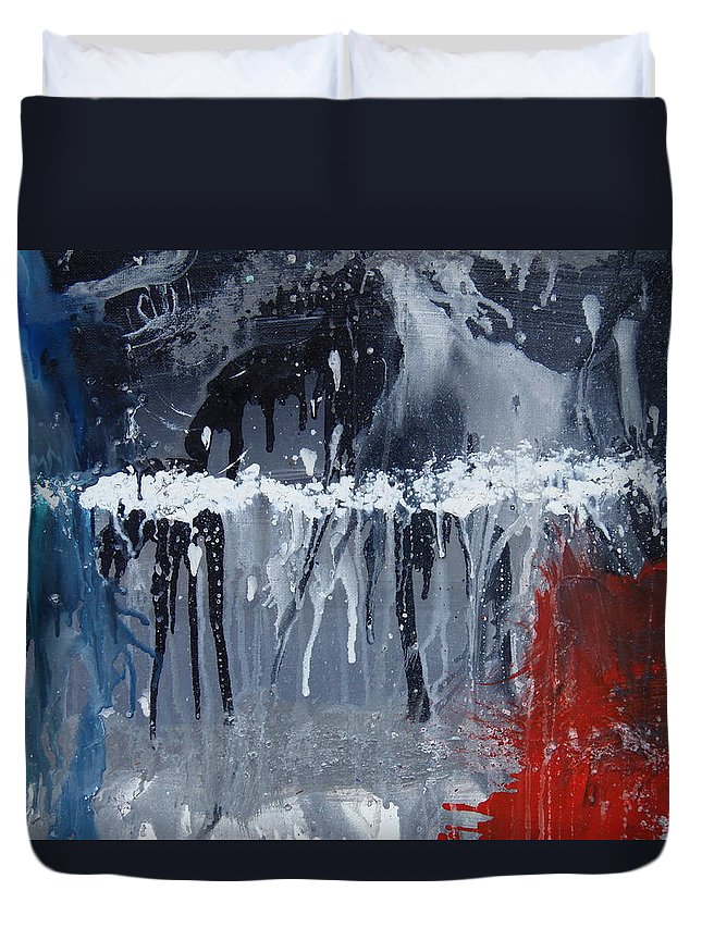 Abstract Duvet Cover featuring the painting Greenhouse Effect On The Arctic Circle by Max Bowermeister