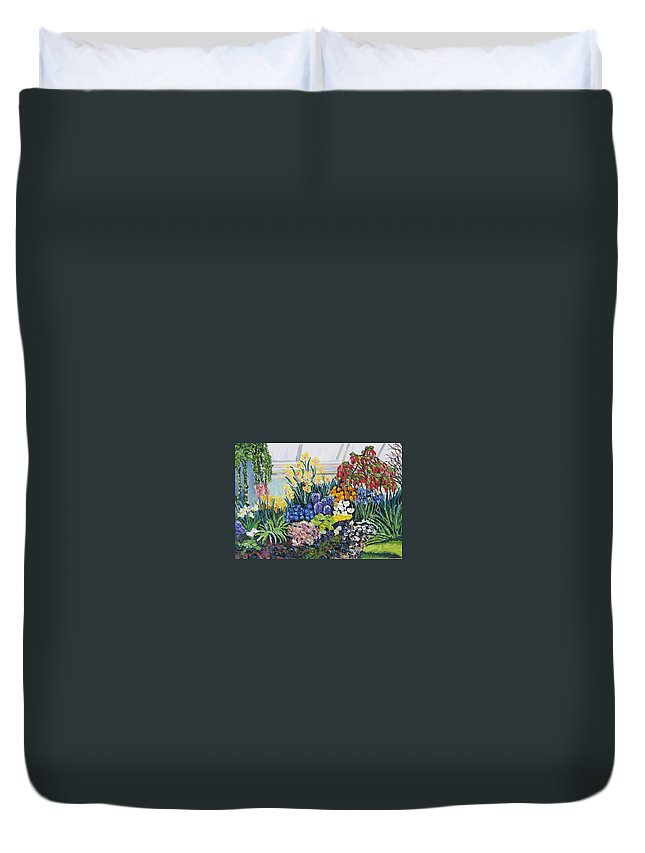 Flowers Duvet Cover featuring the painting Greenhouse Flowers With Blue And Red by Richard Nowak