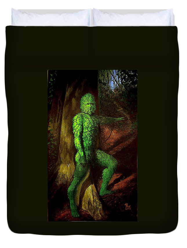 Myth Duvet Cover featuring the mixed media Greenman by Will Brown