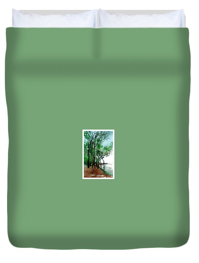 Water Color Duvet Cover featuring the painting Greens by Anil Nene