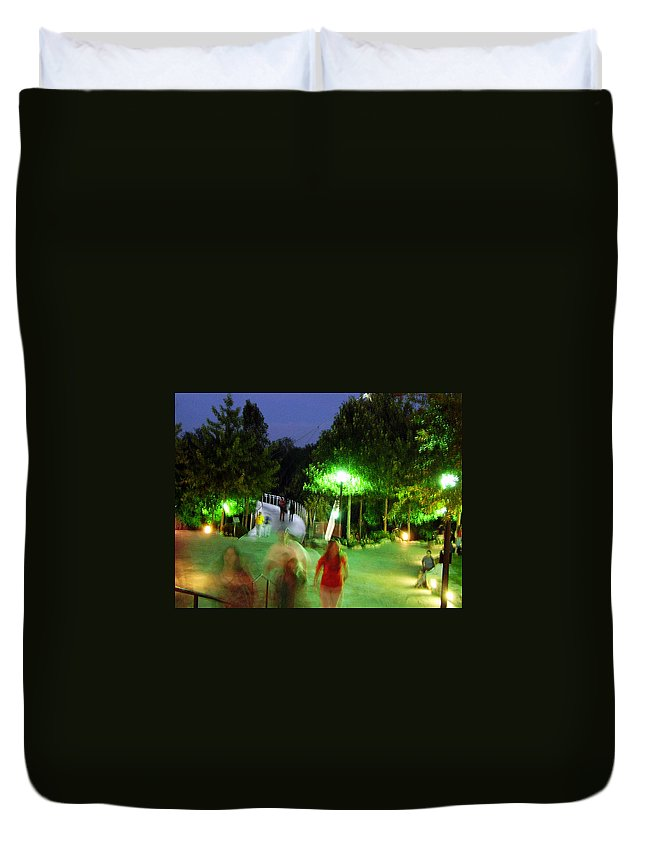 Falls Park Duvet Cover featuring the photograph Greenville At Night by Flavia Westerwelle