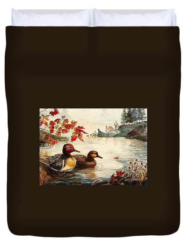 Ducks Duvet Cover featuring the painting Greenwinged Teal Ducks by Marilyn Smith