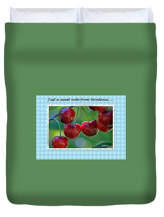 Cherries Duvet Cover featuring the photograph Greeting Card - Cherries #1 by Jerrie Bullock