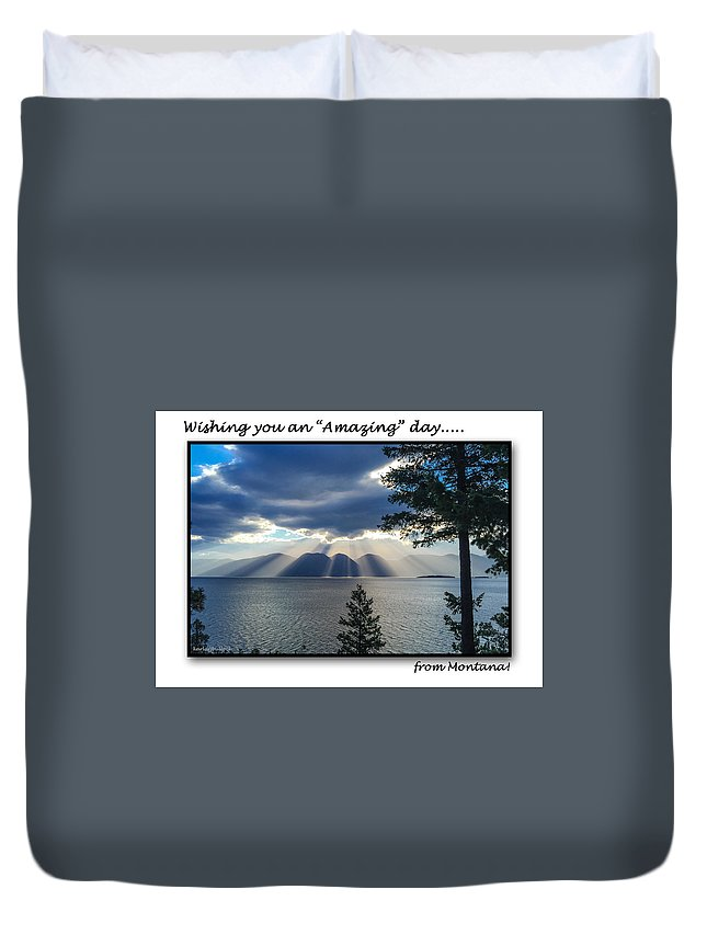 Flathead Lake Duvet Cover featuring the photograph Greeting Card - Flathead Lake by Jerrie Bullock