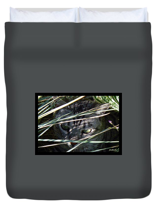 Abstract Duvet Cover featuring the photograph Greeting Card - Joe Joe In The Grass by Jerrie Bullock