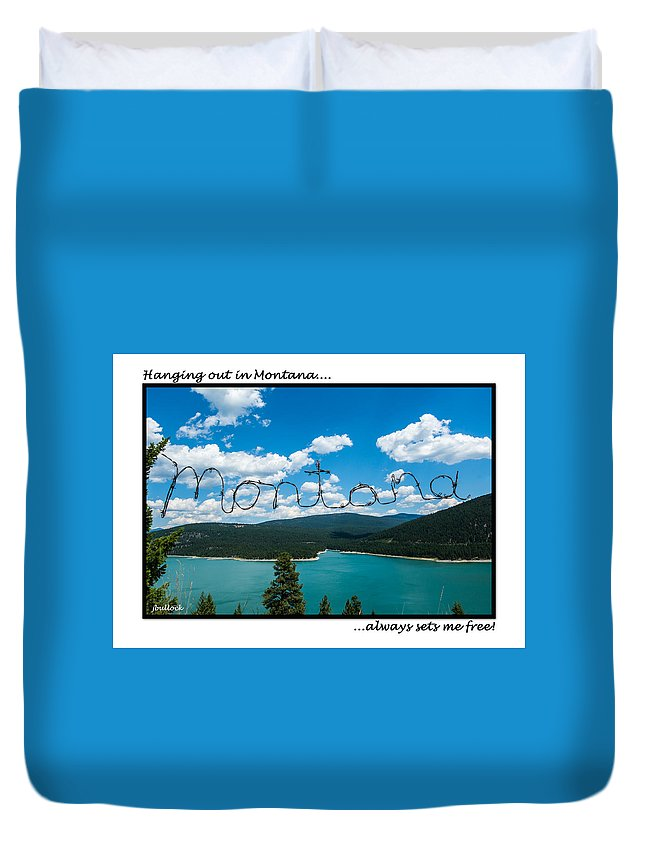 Lake Koocanusa Duvet Cover featuring the photograph Greeting Cards - Set Me Free In Mt by Jerrie Bullock