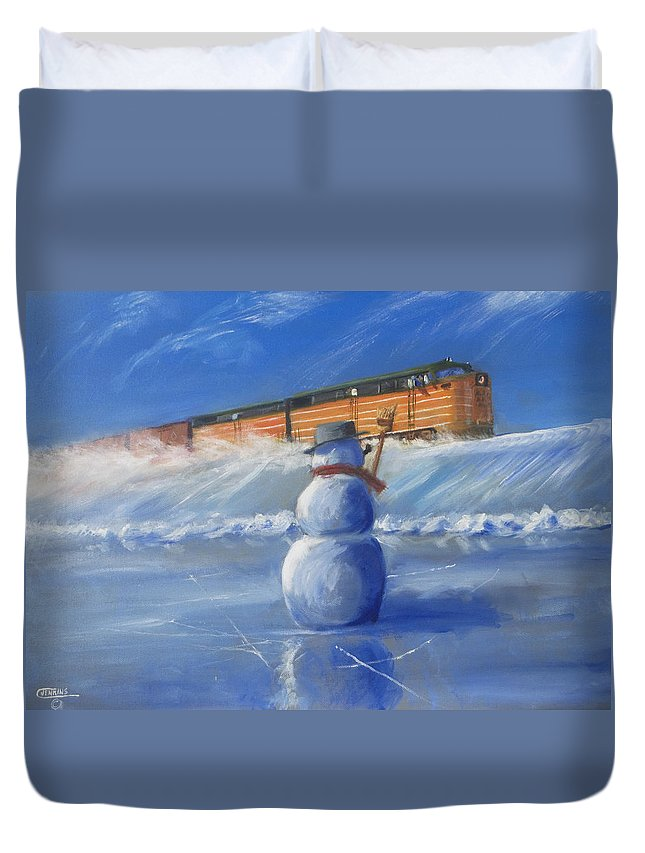 Train Duvet Cover featuring the painting Greetings by Christopher Jenkins