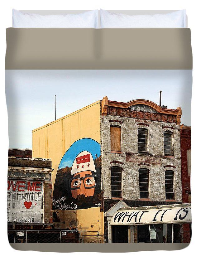 Greetings Duvet Cover featuring the photograph Greetings From Dystopia City -- Washington D C by Cora Wandel