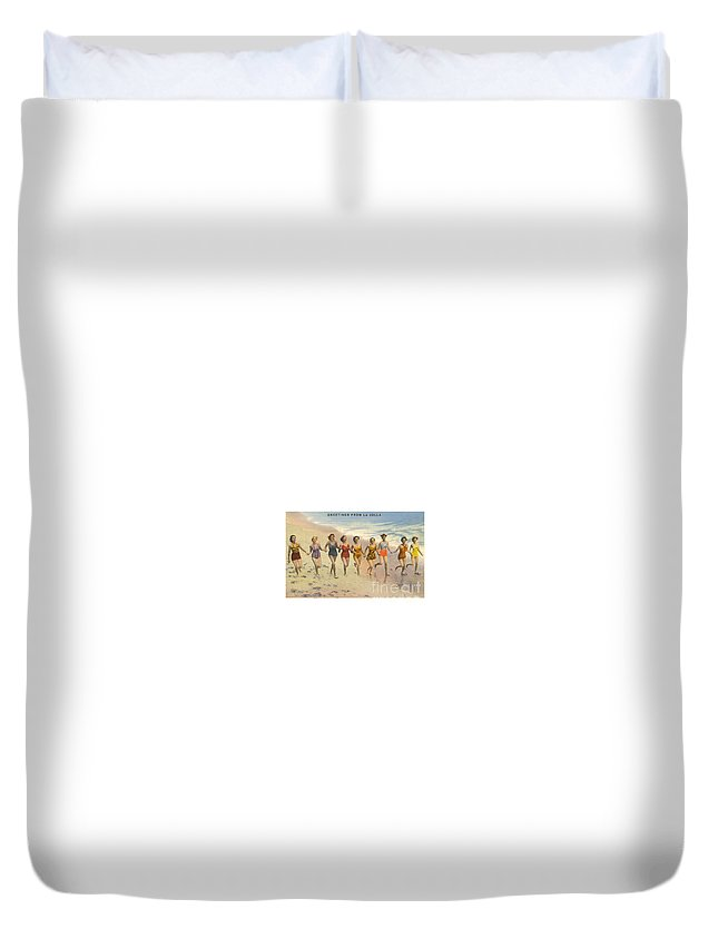 Vintage Duvet Cover featuring the painting Greetings From La Jolla by Nostalgic Prints