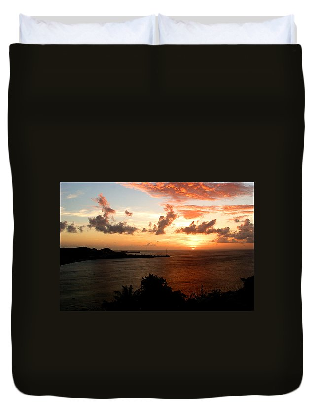 Sunset Duvet Cover featuring the photograph Grenadian Sunset II by Jean Macaluso