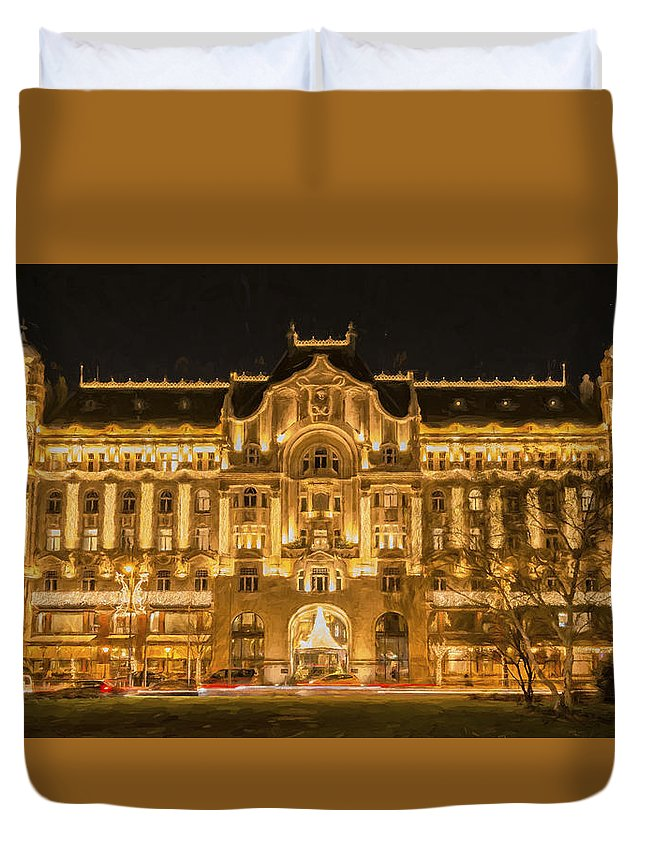 Joan Carroll Duvet Cover featuring the photograph Gresham Palace Holiday Lights Painterly by Joan Carroll
