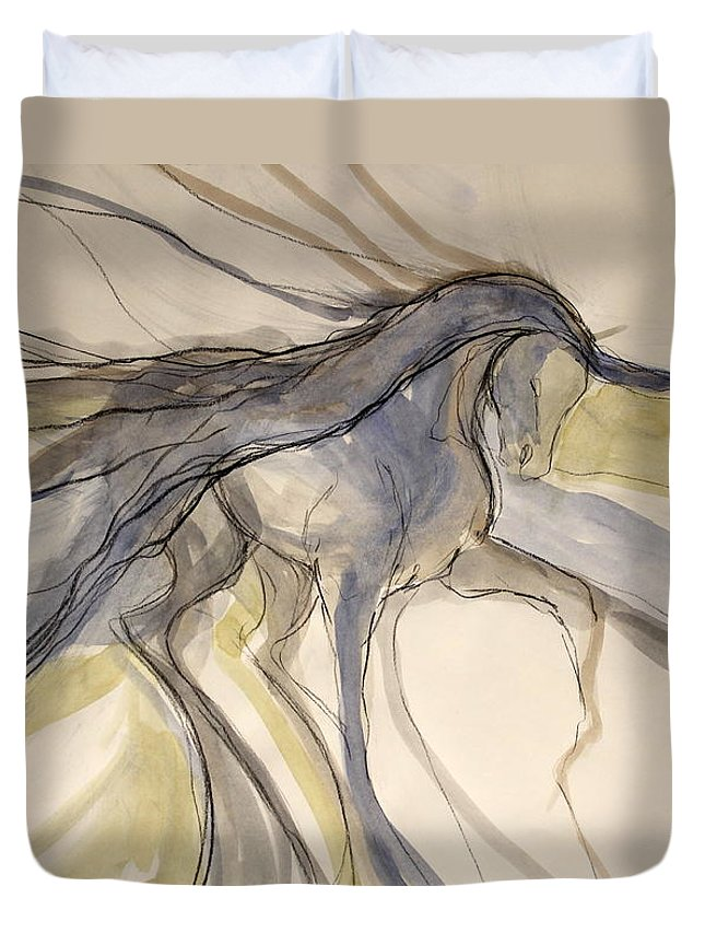 Dressage Dancing Horse Abstract Mixed Media Pirouette Equine Expression Extension Freedom Grand Prix Music Racing Racehorse Impulsion Lipizzaner Musical Freestyle Lightness Majestic Passage Piaffee Pura Raza Espanola Quarterhorse Thoroughbred Arabian Andalusian Balance Cadence Canter Dutch Warmblood Show Jumping Spanish Sporthorse Strength Submission Trakehner Transitions Westphalian Colorful Animal Whimsical Tempi Changes Gypsy Vanner Stallion Elasticity Eventing Equitation Equestrian Half-pass Duvet Cover featuring the mixed media Grey And Gold Classic by Jennifer Fosgate