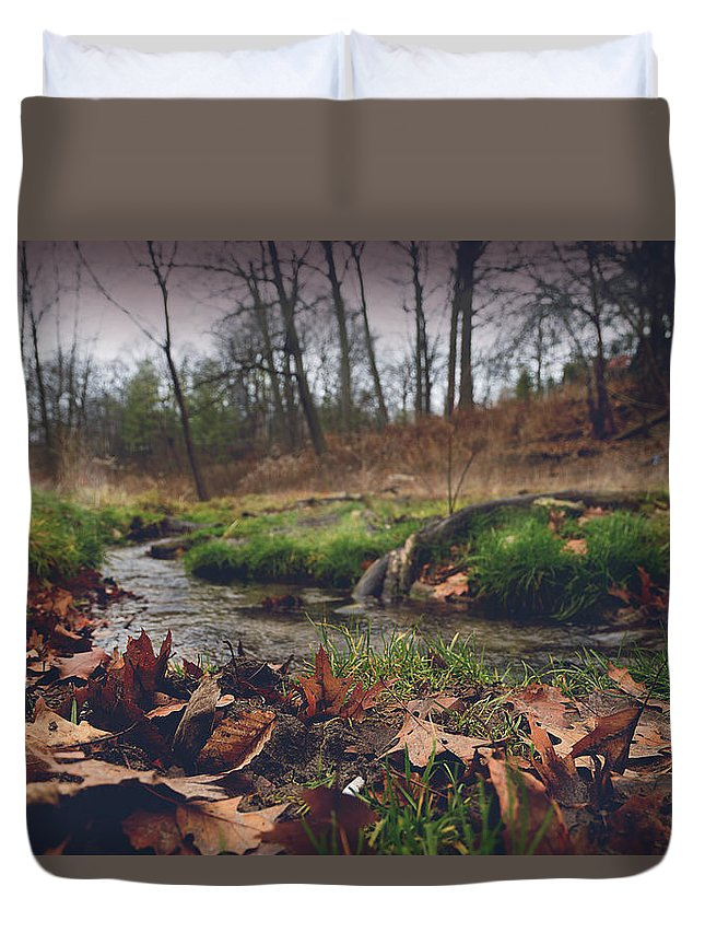 Landscape Duvet Cover featuring the photograph Grey Day In The Glen by Jeff Hurst