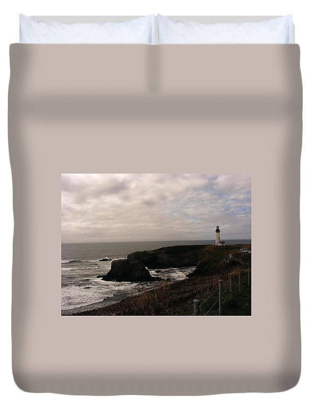 Lighthouses Duvet Cover featuring the photograph Grey Day by Marilyn Smith